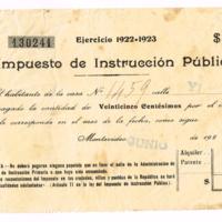 F. 1r. Recibo del Impuesto de Instrucción Pública