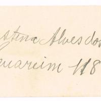 F. 1r. Tarjeta de Gustina Alves dos Santos