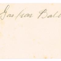 F. 1r. Tarjeta de Gaspar Balboa