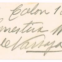 F. 1r. Tarjeta de Ernestina W. de Varsaja