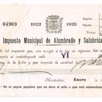 F. 1r. Recibo del Impuesto Municipal de Alumbrado y Salubridad