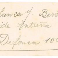 F. 1r. Tarjeta de Blanca M. Bareter
