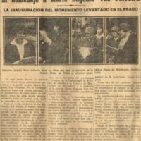 Homenaje a MEVF. La inauguración del monumento levantado en el Prado