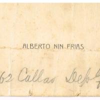 F. 1r. Tarjeta de Alberto Nin Frias