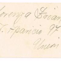 F. 1r. Tarjeta de Lorenza Bruan