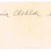 F. 1r. Tarjeta de María C. Abella